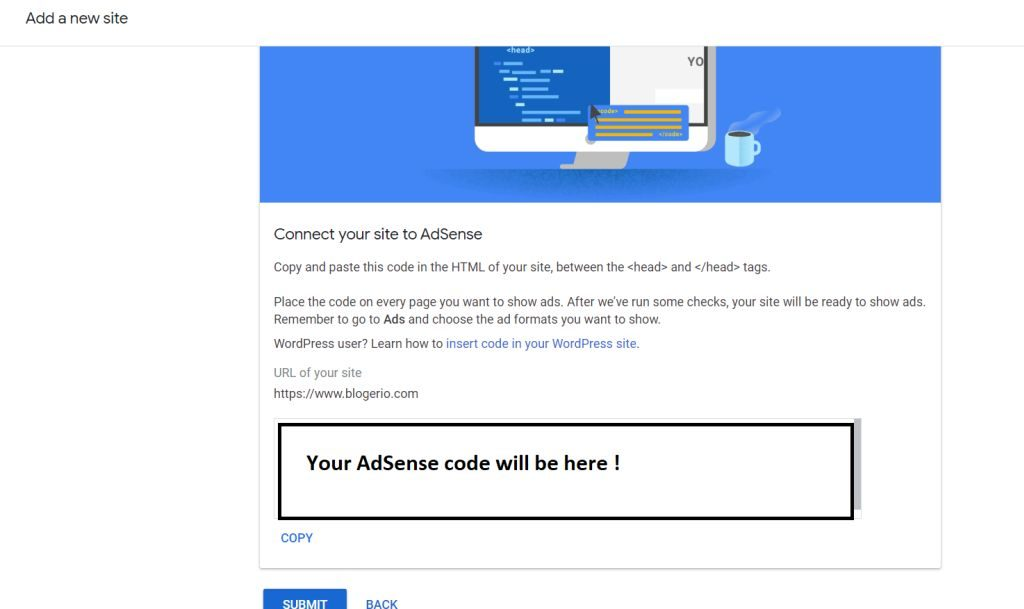 Connecting new site to adsense